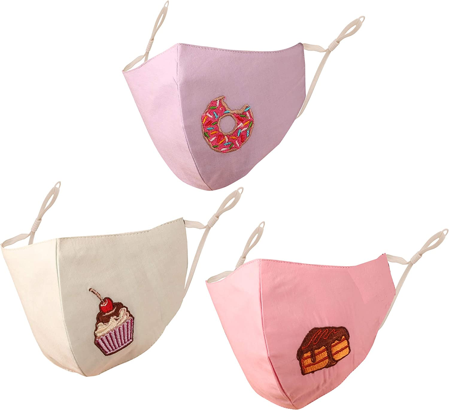 Touchstone Kids food embroidered fun 3 layer cotton fabric face masks reusable machine washable adjustable for children. (Pack of 3). Mauve Green Pink