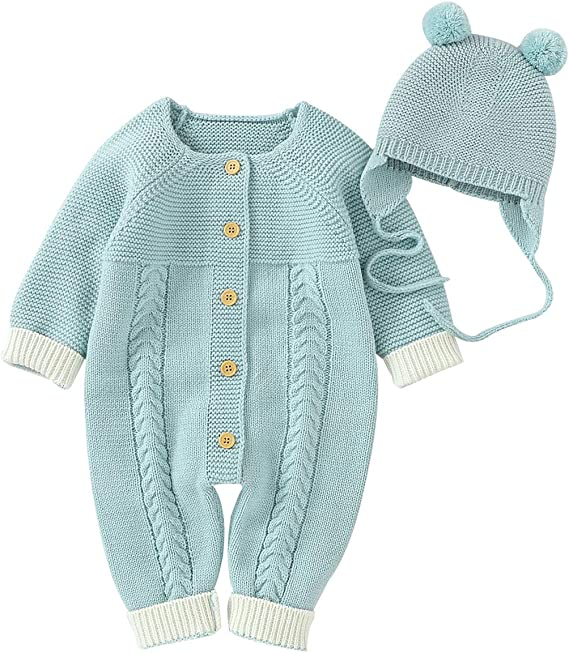 Spring Summer Gift Hand knitted Unisex Baby Romper with Lace Panel Button fastening Winter baby shower Gift 3 sizes