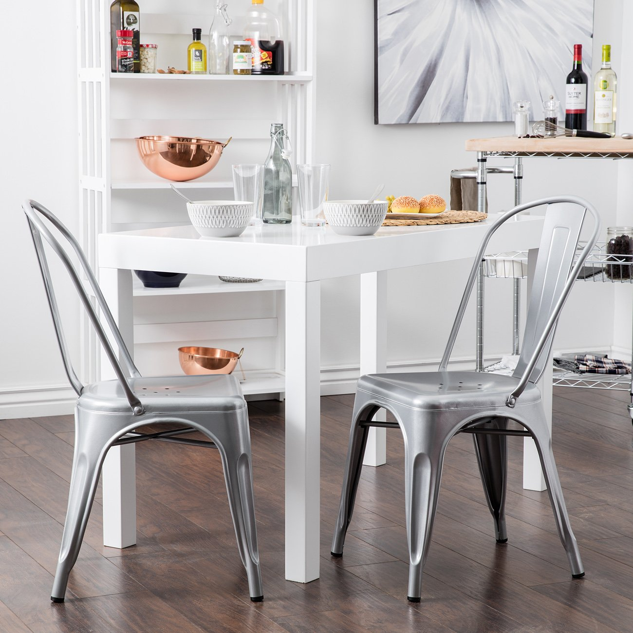 Attirant Amazon.com   Belleze Set Of (4) Vintage Style Dining Chairs Steel High Back  Side (Silver)   Chairs