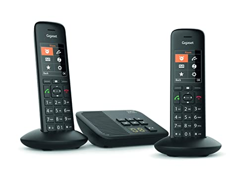 Gigaset C570A Duo - Teléfono (Teléfono DECT, Terminal con conexión por Cable, Altavoz, 200 entradas, Identificador de Llamadas, Negro): Amazon.es: ...