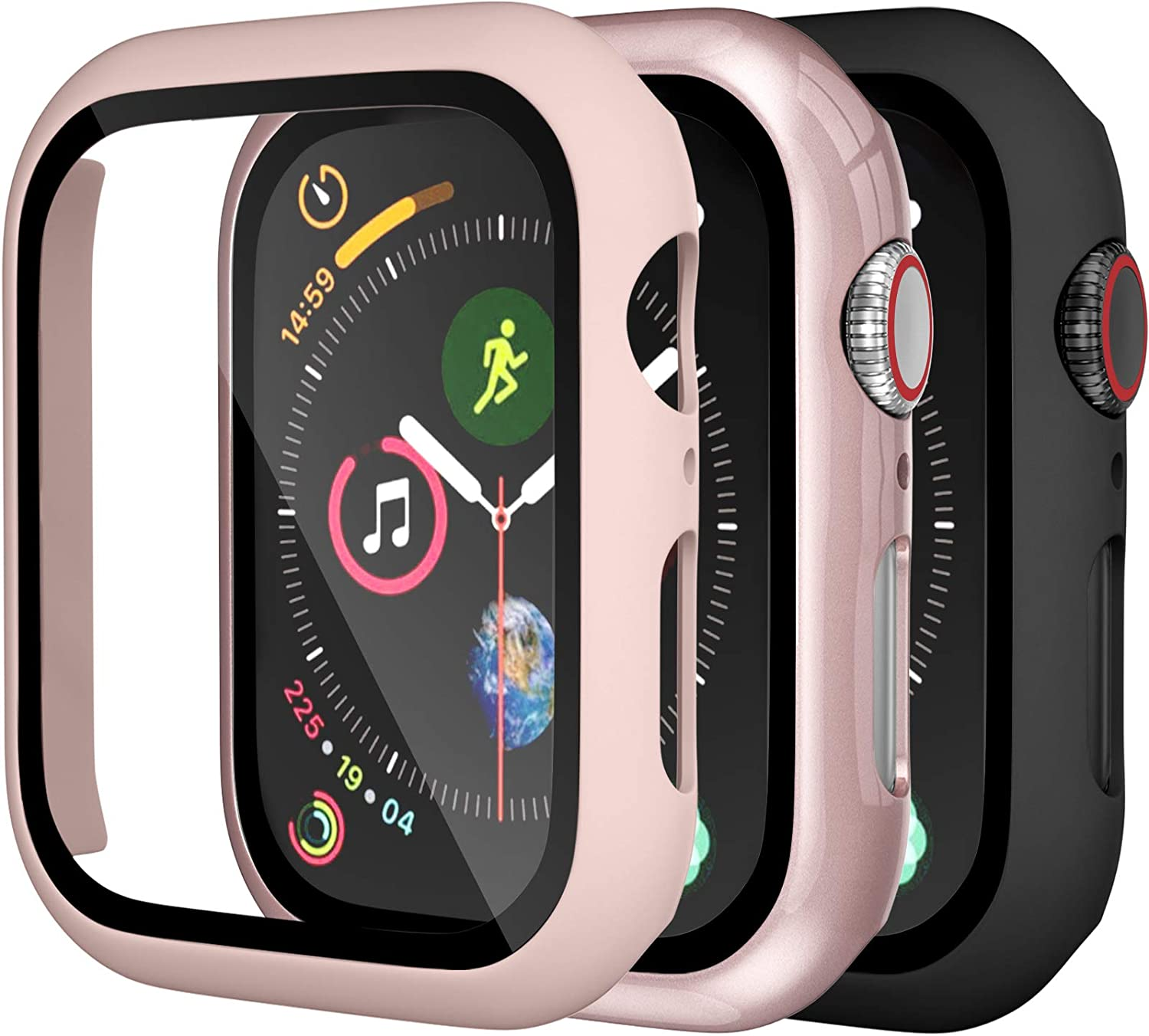 [3 Pack] Charlam Compatible with Apple Watch Case 40mm, Full Coverage Bumper Protective Case Scratch Resistant Cover with Screen Protector for iWatch SE Series 6/5/4, Black Pink Rose Pink, 3 Pack