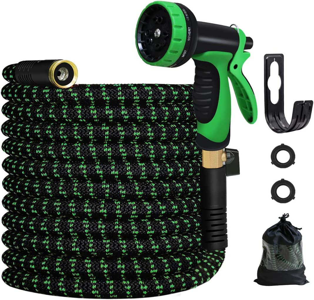 MEACKLE Expandable Garden Hose, 100ft Water Hose with 10 Patterns Spray Nozzle, Flexible Latex Pipe 3/4 Solid Brass Fittings, Lightweight Leakproof