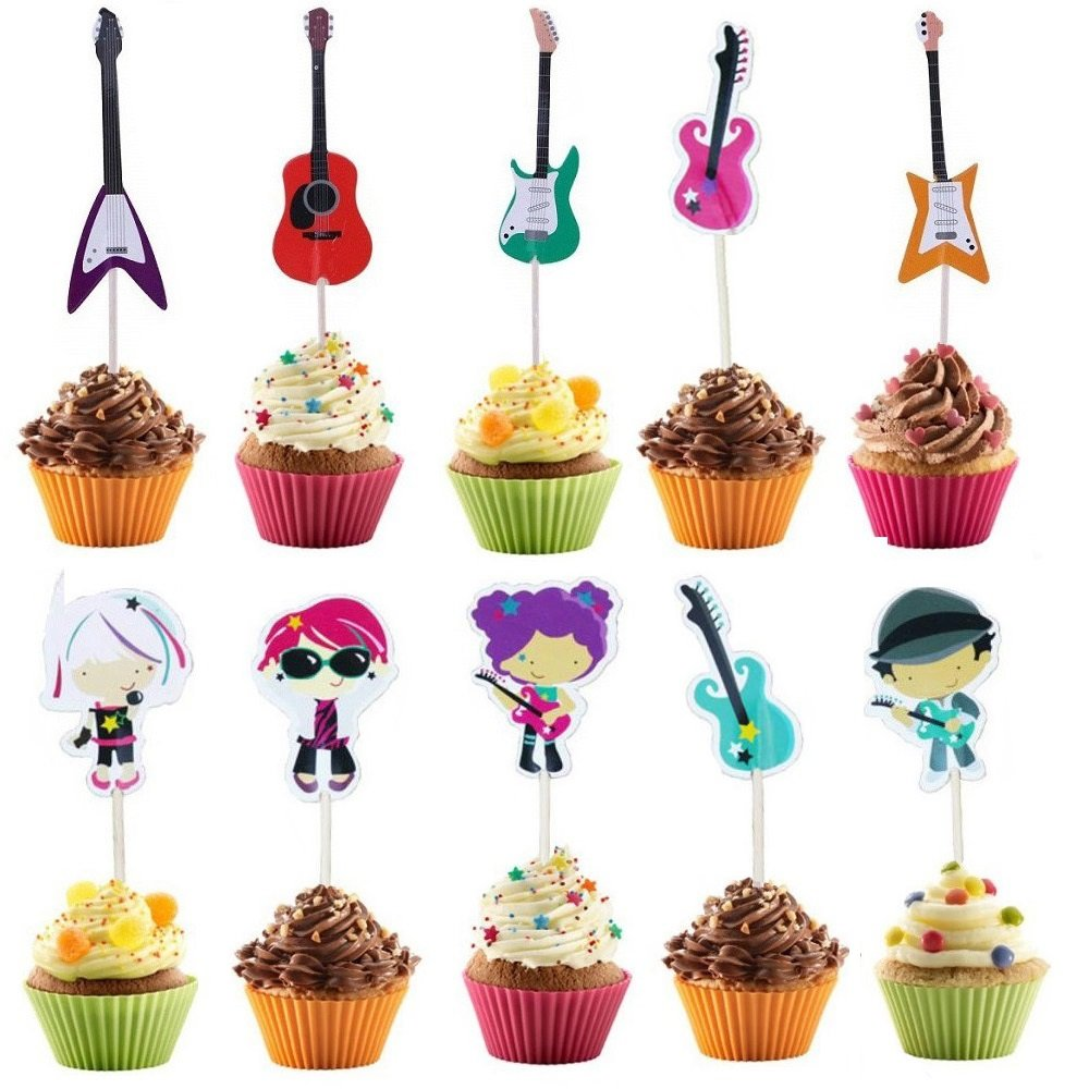 Music Themed Party Cupcake Toppers - Guitar Cake Toppers for Kids Birthday Wedding Baby Shower Party Favor - Set of 48