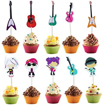 Music Themed Party Cupcake Toppers Guitar Cake Toppers For Kids