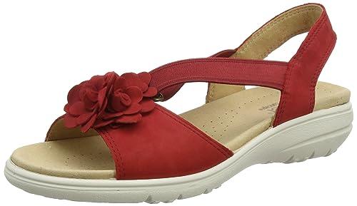 HANAHS - Sandalias con Punta Abierta de Cuero Mujer, Color Rojo, Talla 40 Hotter
