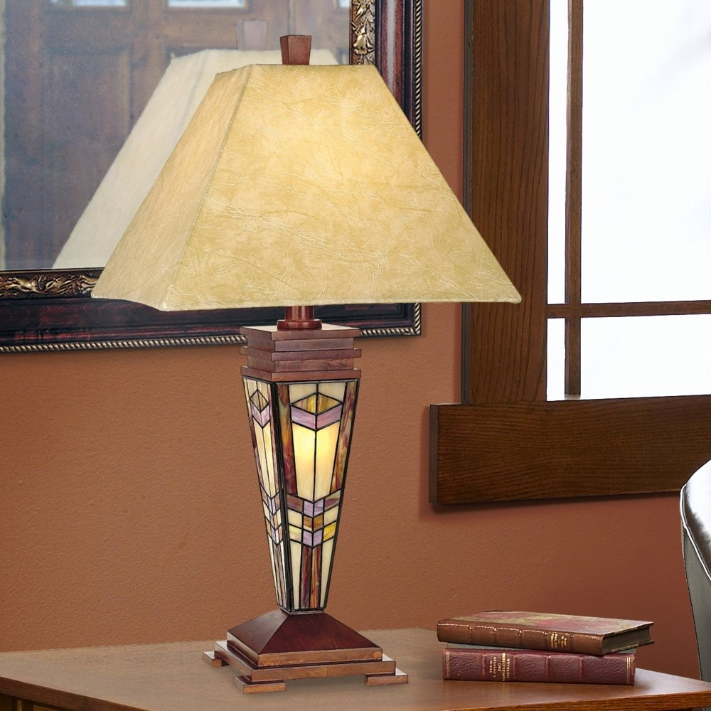 Art Glass Mission Night Light Table Lamp   Table Lamp With Night Light    Amazon.com
