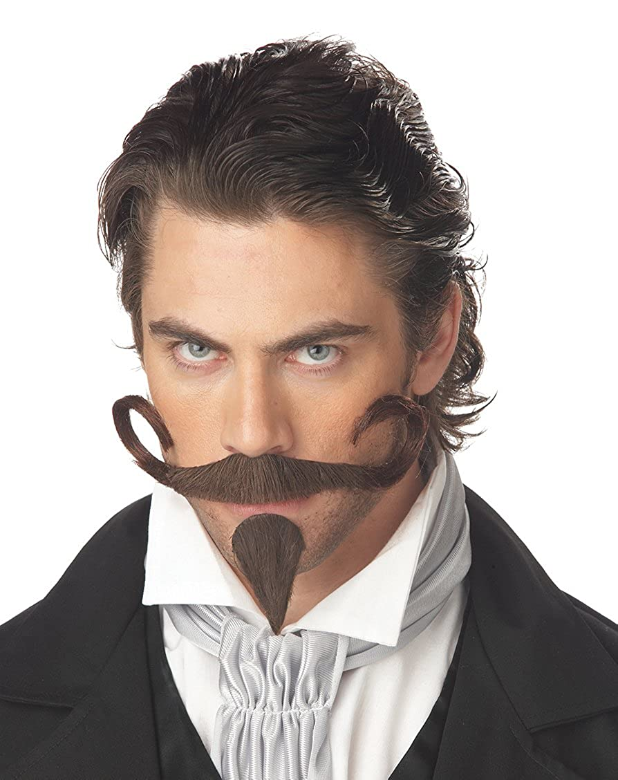 California Costumes Men's The Gambler Moustache & Chin Patch Costume Accessory Brown One Size Costume Accessory 70089-Brown-One Size