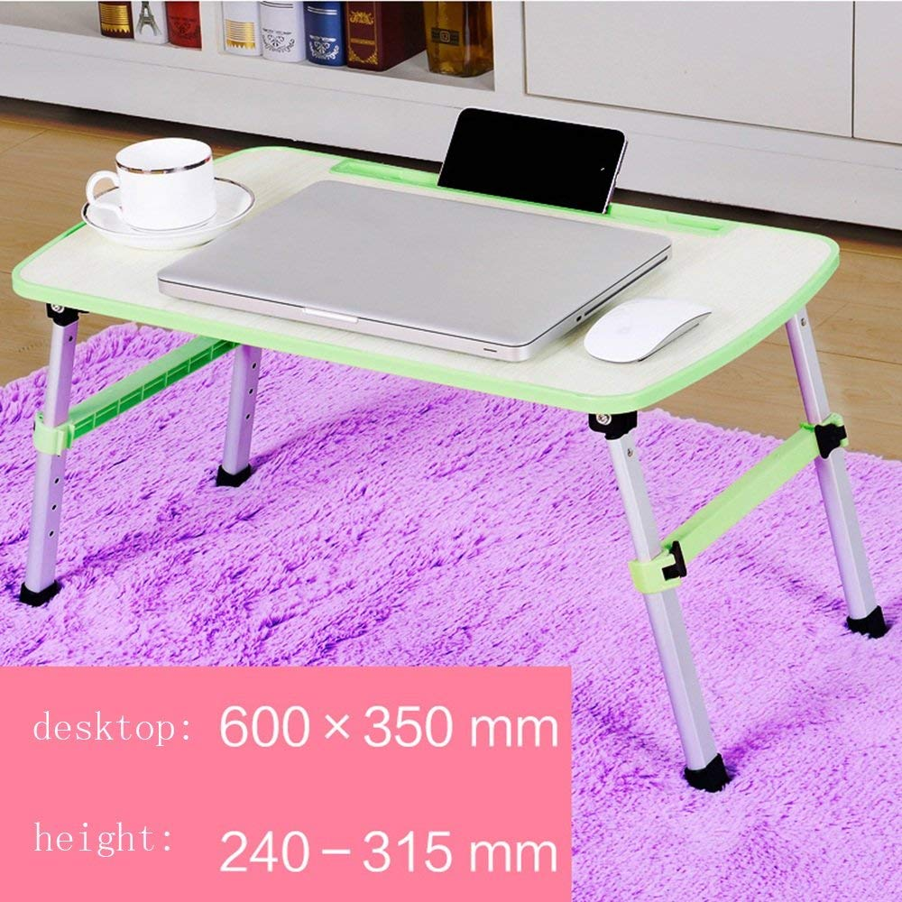 GUI Table-Foldable Aluminum Alloy Legs Wood-Based Panel Board with Card Slot Laptop Tables Bed with a Small Table Learning Table Simple Desk,4