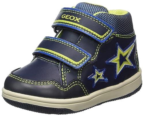 Geox B New Flick E, Sneakers Basses Bébé Garçon, Bleu (Navy/Lime), 22 EU