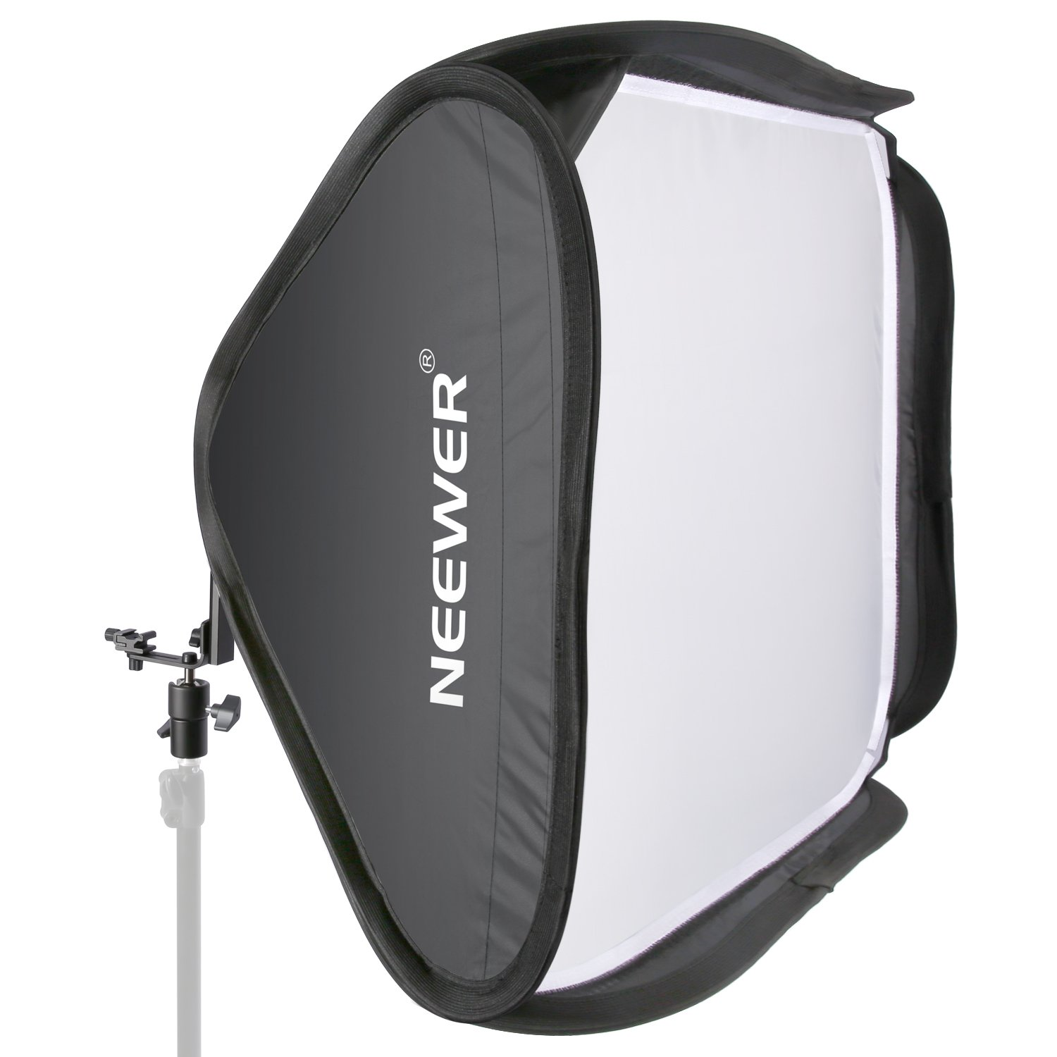Neewer 24''x24''/60cmx60cm Professional Protable Foldable Off-Camera Flash Photography Studio, Portrait Soft Box with L-shaped bracket & flash Ring, Outer Diffuser and Carrying Case