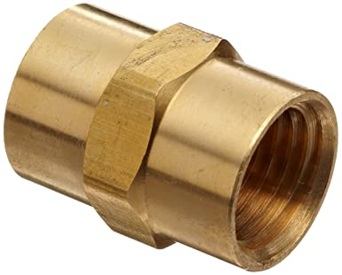Anderson Metals Brass Pipe Fitting 1//2 x 1//2 Female Pipe Coupling