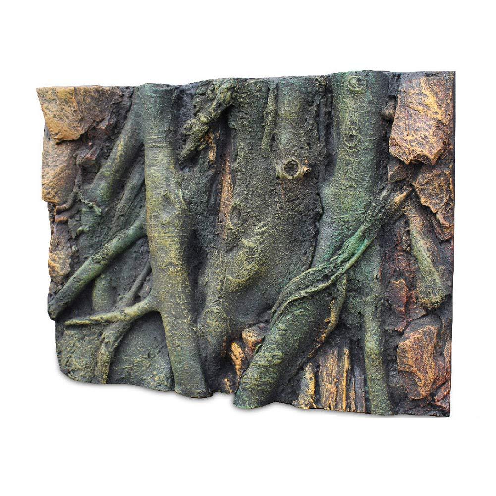 Caige Aquarium Reptile 3D Root Shape PU Foam Background,Green by Caige