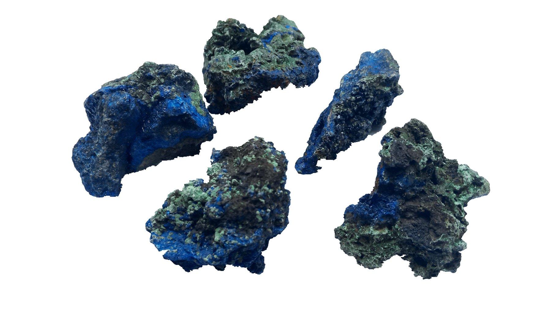 "Beadiy-Natural Azurite Malachite Healing Crystal 1/2 Ib Healing Chakra,Mineral Specimens,Large Approx 1""-2.2"""