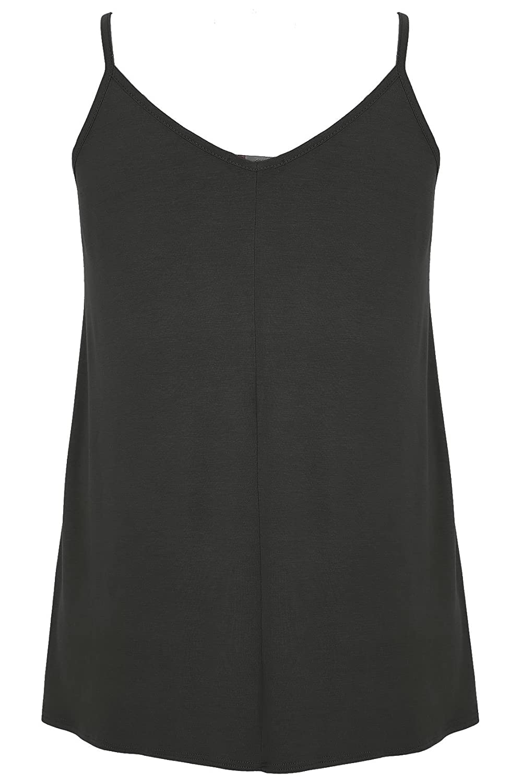 024553bca63cda Women s Plus Size V-Neck Longline Cami Vest Top with Cross Front Detail  Size 30-32 Black  Amazon.co.uk  Clothing