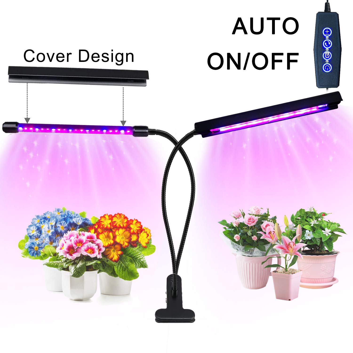 Grow Light, 20W 40 LED Bulbs Auto ON/OFF Plant Grow Lamp Dual Head Timing Grow Lights for Indoor Plants Seedlings with Red/Blue Spectrum Adjustable Gooseneck 3/6/12H Timer 5 Dimmable Levels by Eleclist