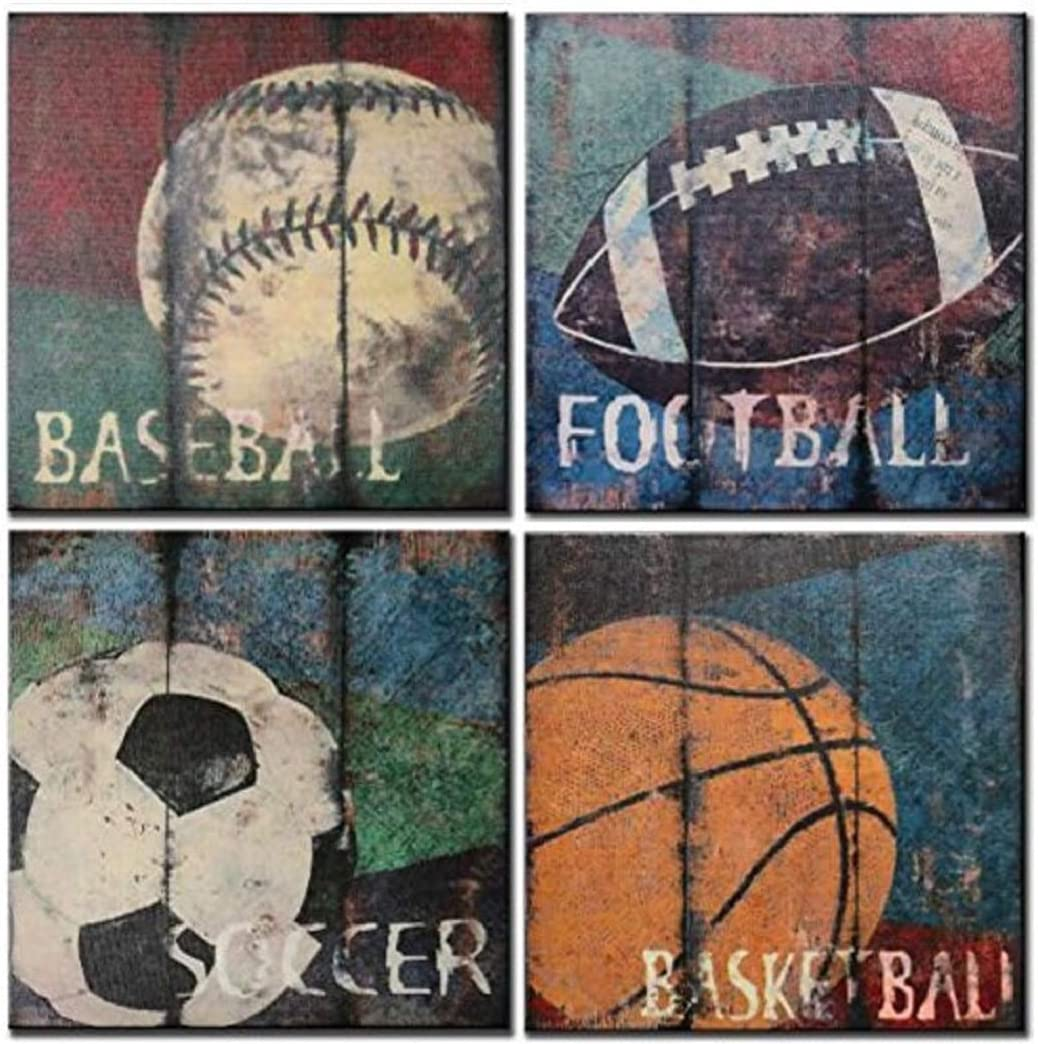 SpecialArt Soccer Baseball Football Basketball Wall Canvas Painting, 4 Pieces Sports Picture Giclee for Baby Nursery Room Wall Decor as Boys Gift, 12x12inx4pcs