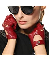 Elma Tradional Women's Italian Nappa Leather Gloves Motorcycle Driving Open Back