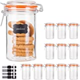 Glass Jars With Airtight Lids,Encheng 16 oz Glass Jars With Leak Proof Rubber Gasket,Wide Mouth Mason Jars With Hinged Lids F