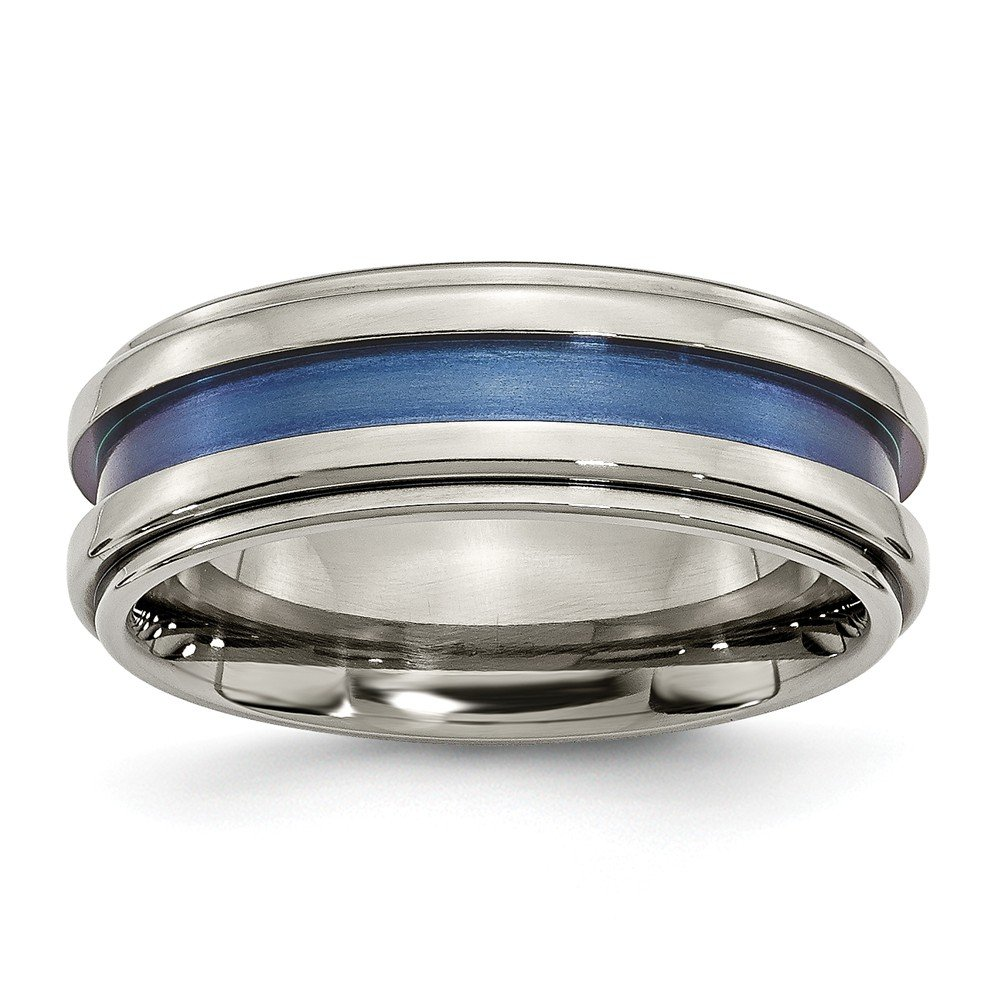 Titanium with Blue Triple Groove 8mm Polished Band Size 8.5 Length Width 8