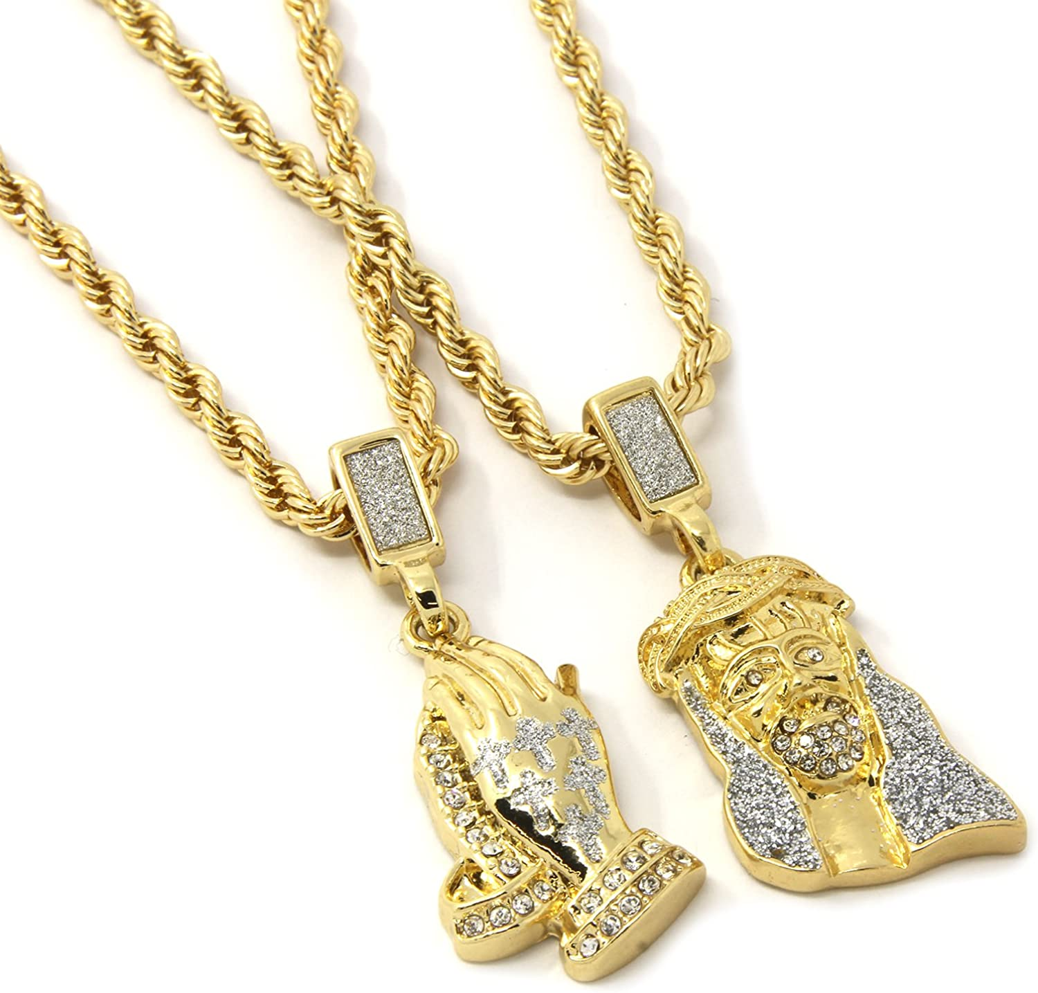 HN Jewels Prayer Hands Disc Pendant Necklace 14K White Gold Plated 1.2 Ct Round Cut Simulated Diamonds