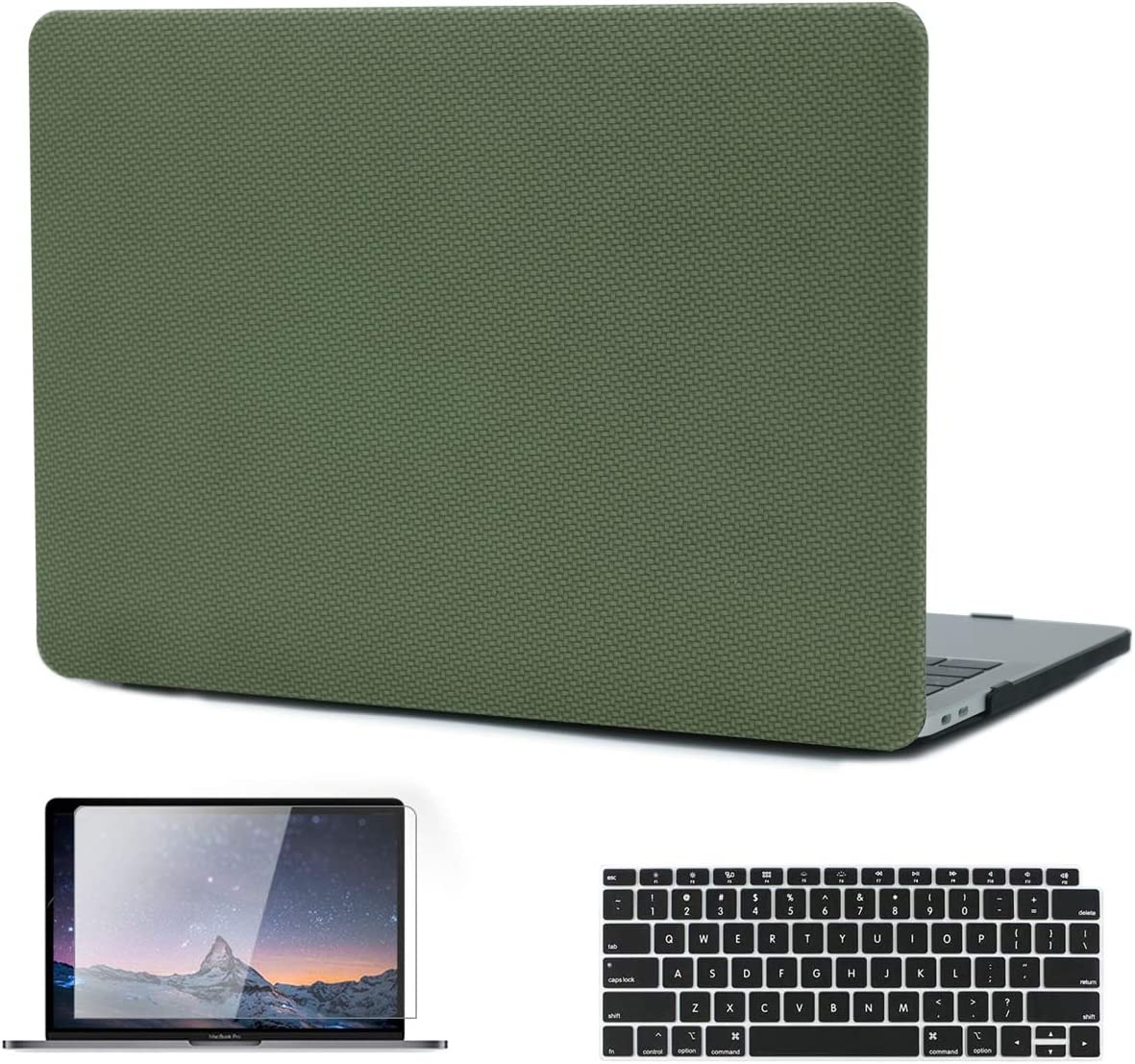 MacBook Pro 13 inch Case 2019 2018 2017 2016 Release A2159 A1989 A1706 A1708, KKP Fabric-Like Leather Hard Shell Case Compatible with MacBook Pro 13 inch with/Without Touch Bar, Green