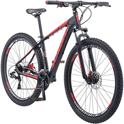 Amazon Com Schwinn Bonafide Mens Mountain Bike Front Suspension 24 Speed 29 Inch Wheels 17 Inch Aluminum Frame Matte Black Red Sports Outdoors