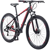 Schwinn Bonafide Mens Mountain Bike, Front Suspension, 24-Speed, 29-Inch Wheels, 17-Inch Aluminum Frame, Matte Black/Red