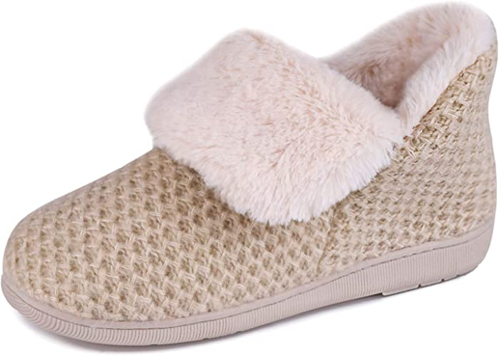 Ladies Wide Fit Slippers Booties Memory Foam Soft Warm Fleece Lined Rubber Sole