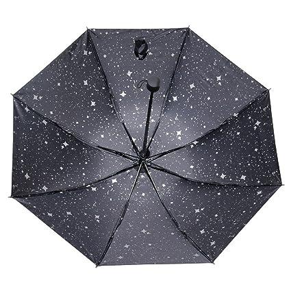 MinegRong Paraguas Mujer de Doble Uso Paraguas de Sol Protección Solar Plástico UV Plegable de Tres