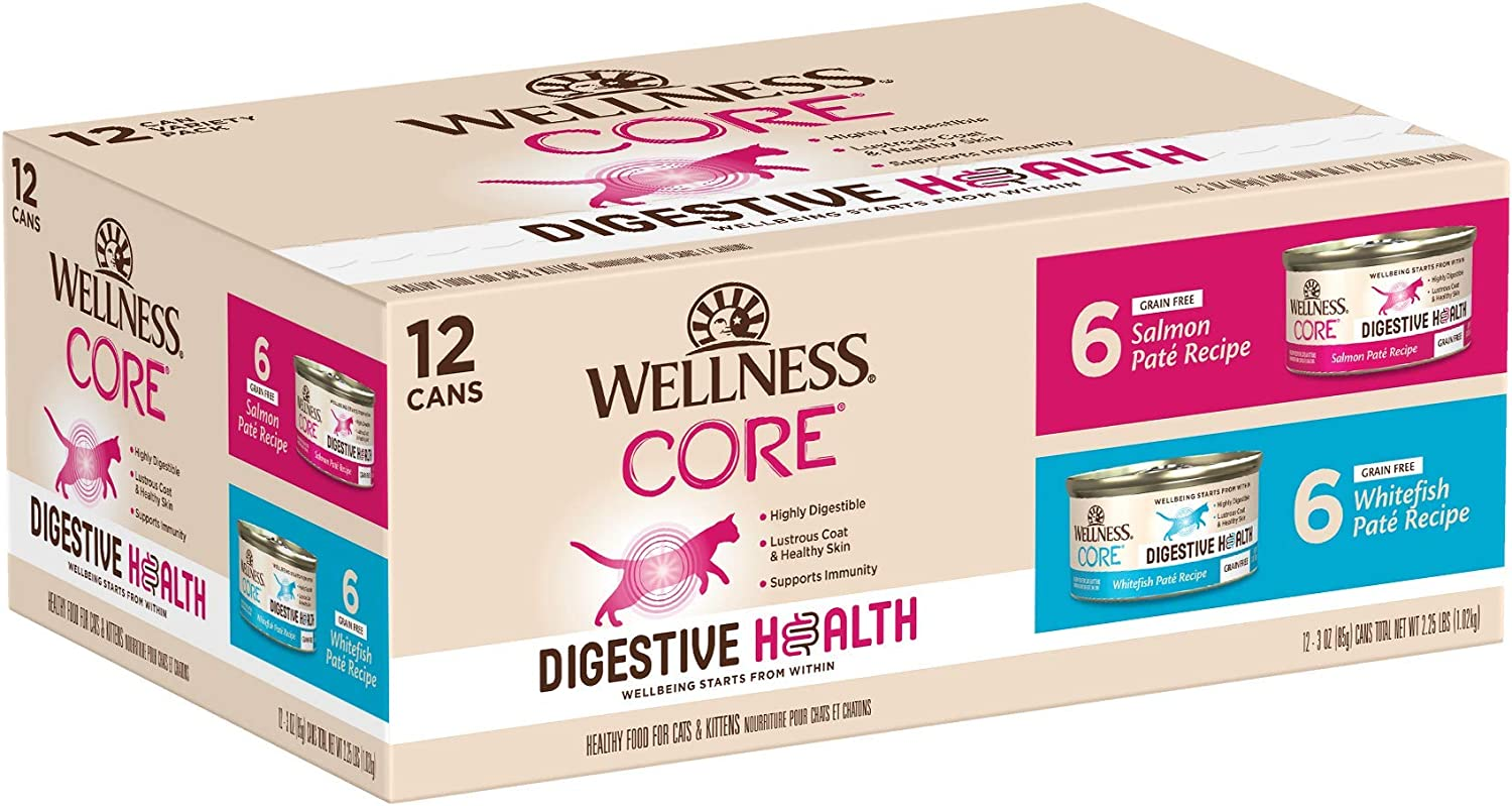 Wellness CORE Digestive Health Grain Free Pate Wet Cat Food, 3-Ounce Can, Pack of 12