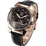 ESS Men Black Tourbillon Rose Golden Aviator Automatic Mechanical Watch WM183