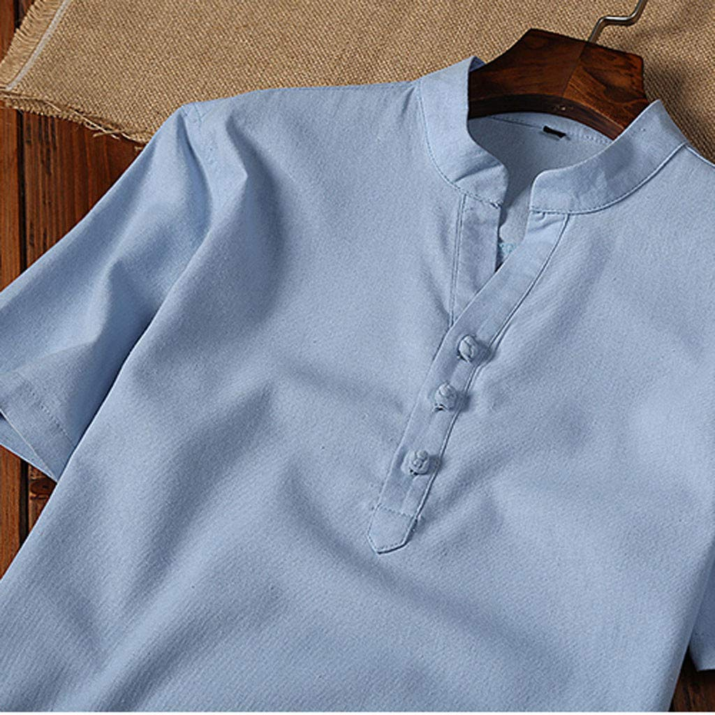 Willow S Fashion Mens T-Shirt Short Sleeve Solid Color Standing Collar Button Casual Linen and Cotton Blouse Tops
