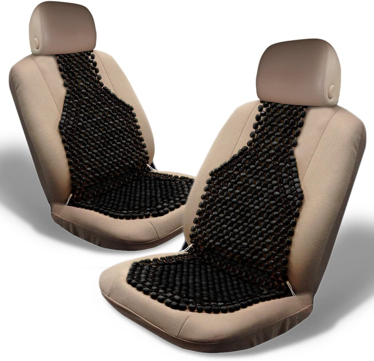 Zone Tech Massage Car Seat Cover Wood Beaded Cushion Roller Chair Motorcycle