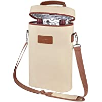 Tirrinia 2 Bottle Wine Tote Carrier - Leakproof & Insulated Padded Versatile Canvas Cooler Bag for Travel, BYOB…