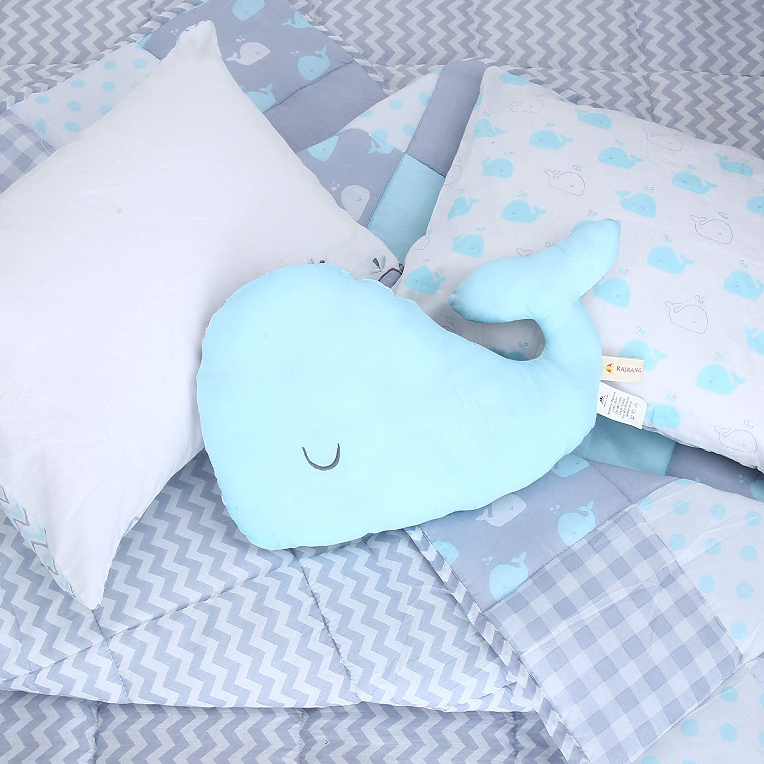 Neck Support for Newborn Boys and Girls Whale Pattern Cotton Stuffed Crib Pillow Baby Shower Gift 15x9x2.5 Inch RAJRANG BRINGING RAJASTHAN TO YOU Head Shape Pillows Blue