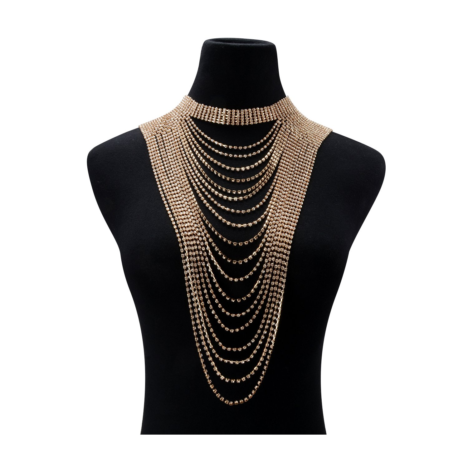 Statement Necklace for Women Multi-layers Tassels Wide Choker Pendant Formal Party Wedding Gold Chain 1pc with Gift Box - HLN68 Gold