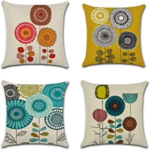 JesyLuco Fall Farmhouse Cartoon Sunflower Throw Pillow Covers Decorative Set of 4 Summer Abstract Flowers Pillowcases Linen Cotton Square Thanksgiving Printed Cushion Covers 18 x 18 inch