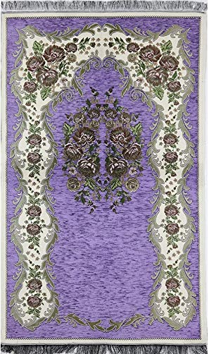 Modefa Islamic Janamaz Sajjadah Thin Chenille Woven Embroidered Floral Rose Prayer Mat Purple