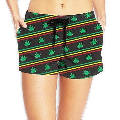 YY909 Women's Ganja Marijuana Weed Stripe Summer Board Beach Shorts Quick-Dry Beachwear