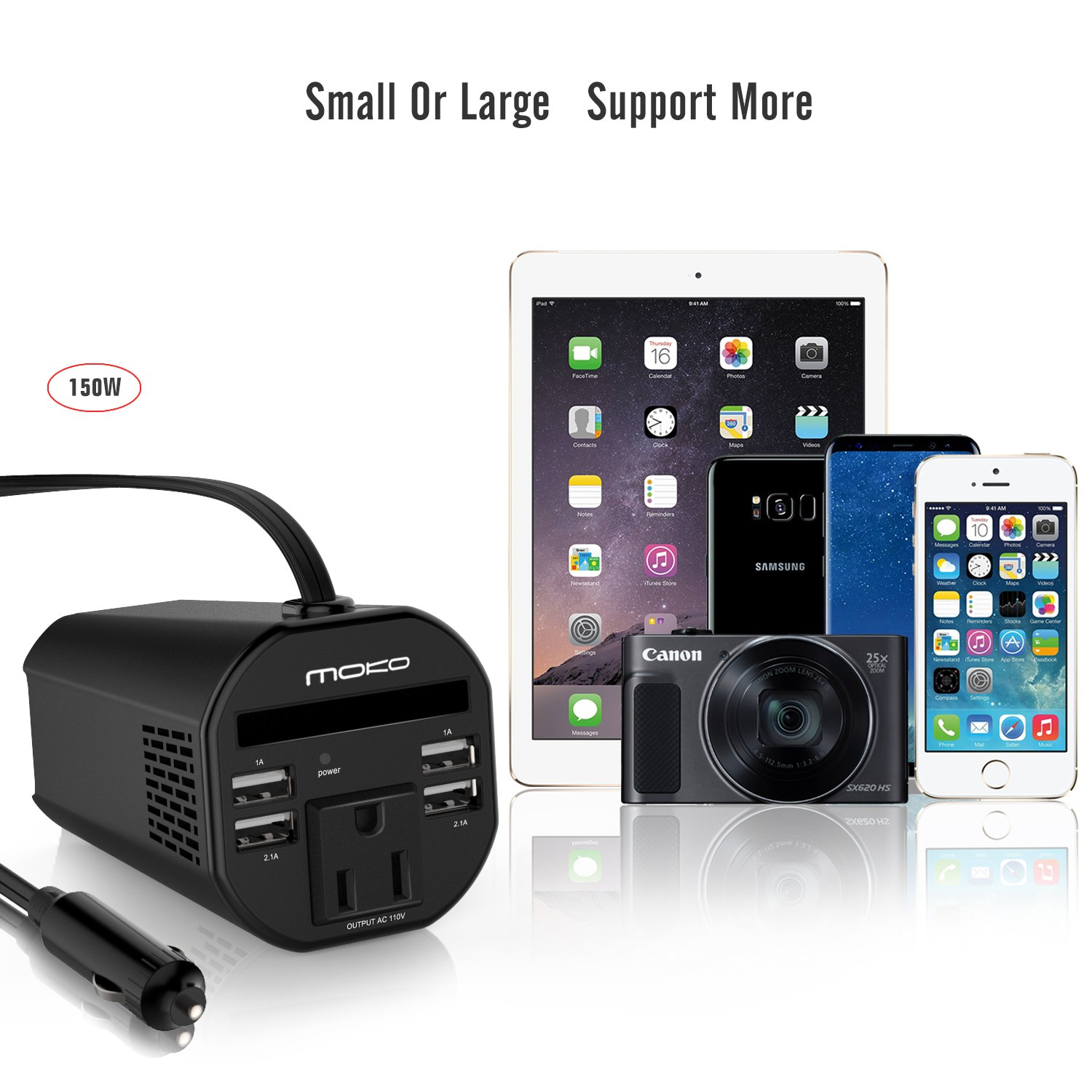 MoKo 150W Car Power Inverter, DC 12V to 110V AC Outlet Cup Holder Converter Adapter, with 4 USB Port Charger, for iPhone X/8/8 Plus, MacBook, iPad Pro, Chromebook, Galaxy S8 and etc. (Black) by MoKo (Image #2)