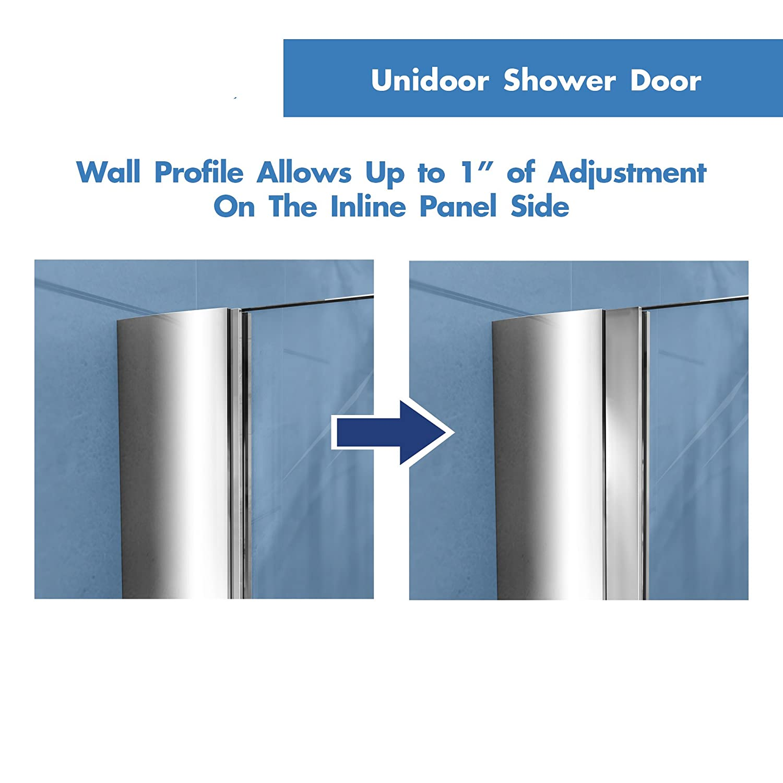 DreamLine Unidoor 35-36 in. W x 72 in. H Frameless Hinged Shower ...