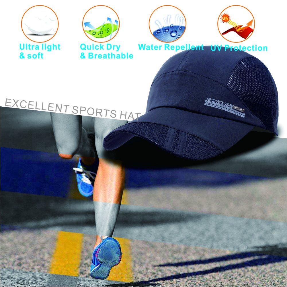 ZYVoyage Quick Dry Sports Hat Lightweight Breathable Soft Outdoor Run Cap  Adjustable Unisex Anti UV Baseball Caps (Black)  Amazon.co.uk  Clothing fc8b7bca4566