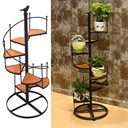Amazon Com Flower Pot Shelves Black Metal Spiral Staircase Design