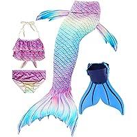 Disfraz de Sirena con Cola, Bikini y Aleta para niña (Conjunto de 4 Piezas)