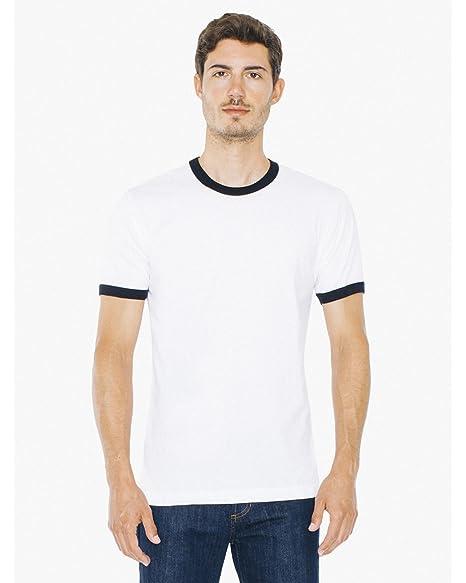 72a29643 American Apparel 2410W Unisex Fine Jersey Ringer T-Shirt White/Black S