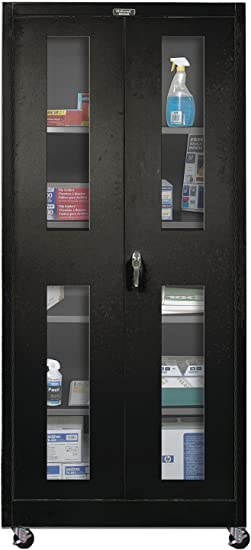 Amazon Com 400 Series 2 Door Storage Cabinet Color Midnight Ebony Utility Cabinets Office Products