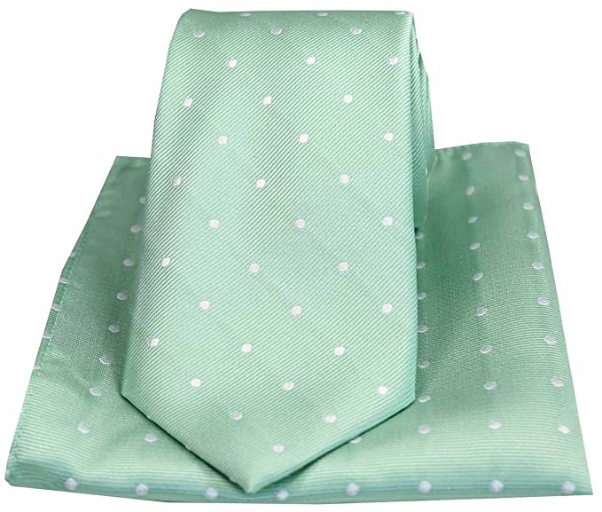 e6ac30319e7f Image Unavailable. Image not available for. Colour: Soprano Mint and White Polka  Dot Silk Tie and Pocket Square