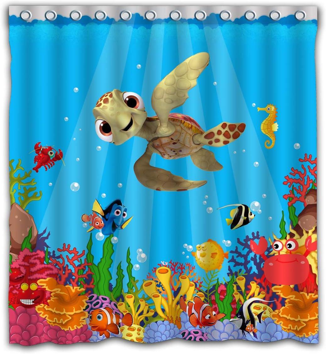 Cartoon Undersea World Tortoise Tropical Fish Seahorse Blue Ocean of Underwater WildlifeWaterproof Shower Curtain Colorful Bathroom Decor Size 66x72 Inches