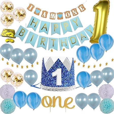 Yudanny Decoración de Fiesta de 1er cumpleaños Globos inflables de Papel de Helio Globos de látex y Papel de Aluminio Pastel de cumpleaños Feliz ...