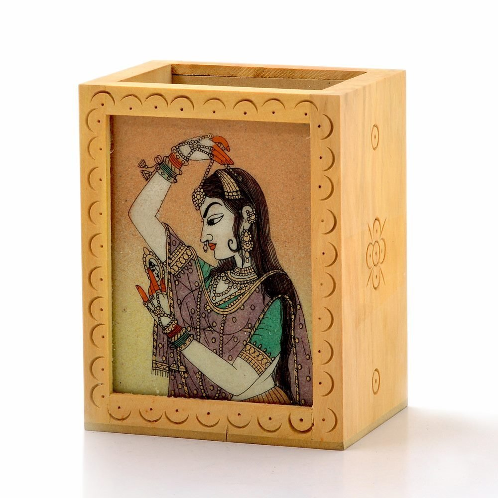 Little India Gemstone Painted Handcrafted Wooden Pen Stand 362